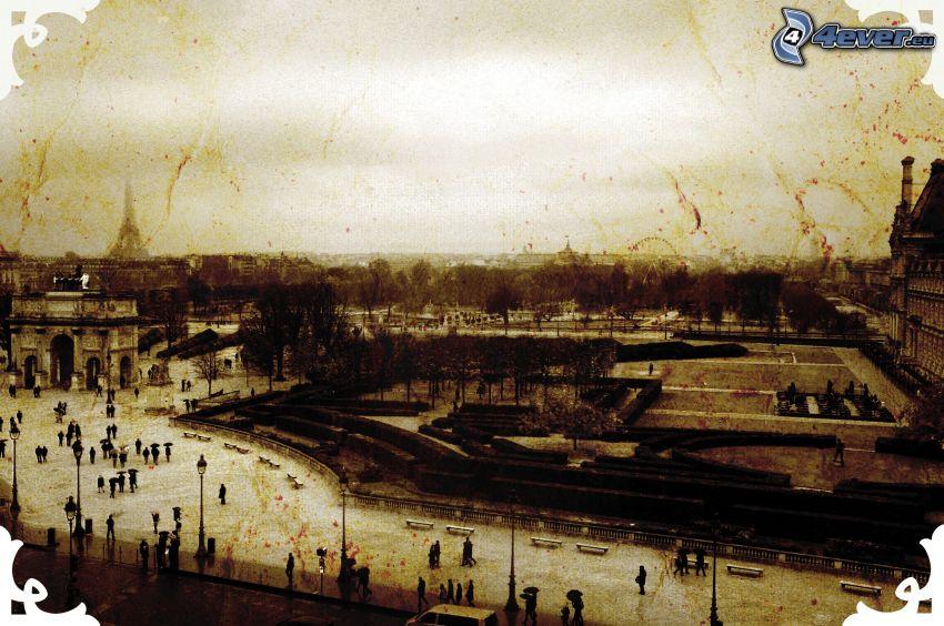 widok na miasto, stare zdjęcie