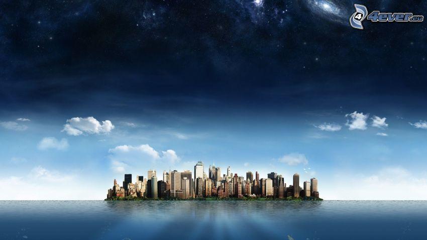 wyspa, miasto, wieżowce, wszechświat