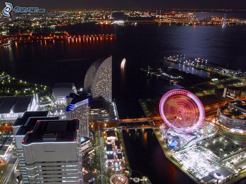 Yokohama, miasto nocą, karuzela