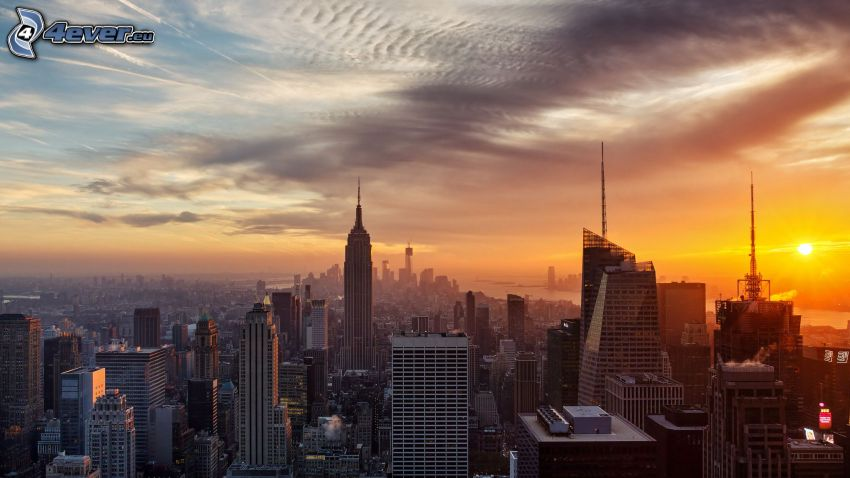 zachód słońca nad miastem, Manhattan, miasto wieczorem, Empire State Building