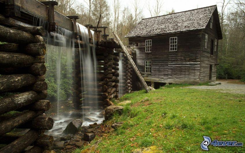 młyn wodny, akwedukt, domek, wodospad, drewniany most