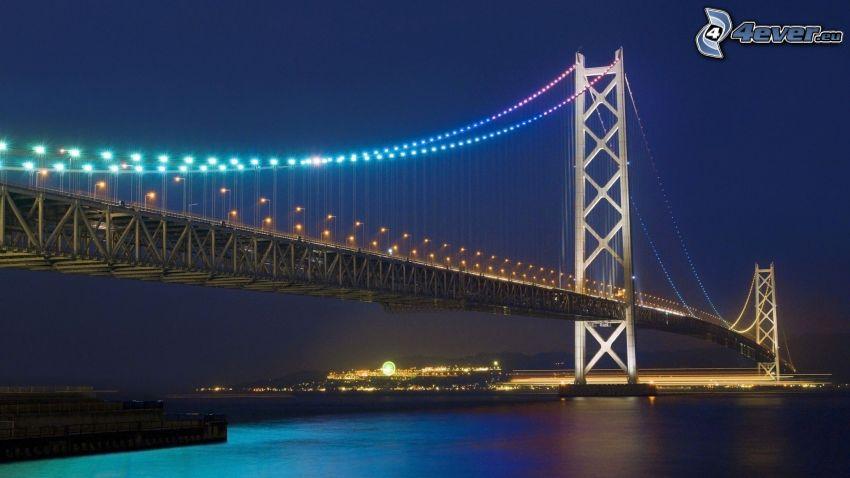 Akashi Kaikyo Bridge, oświetlony most, noc