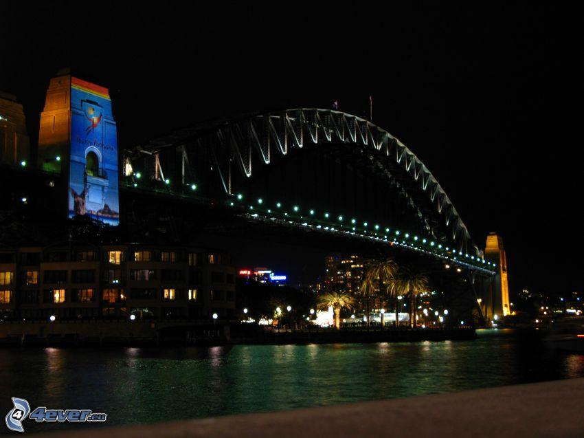 Auckland Harbour Bridge, miasto nocą