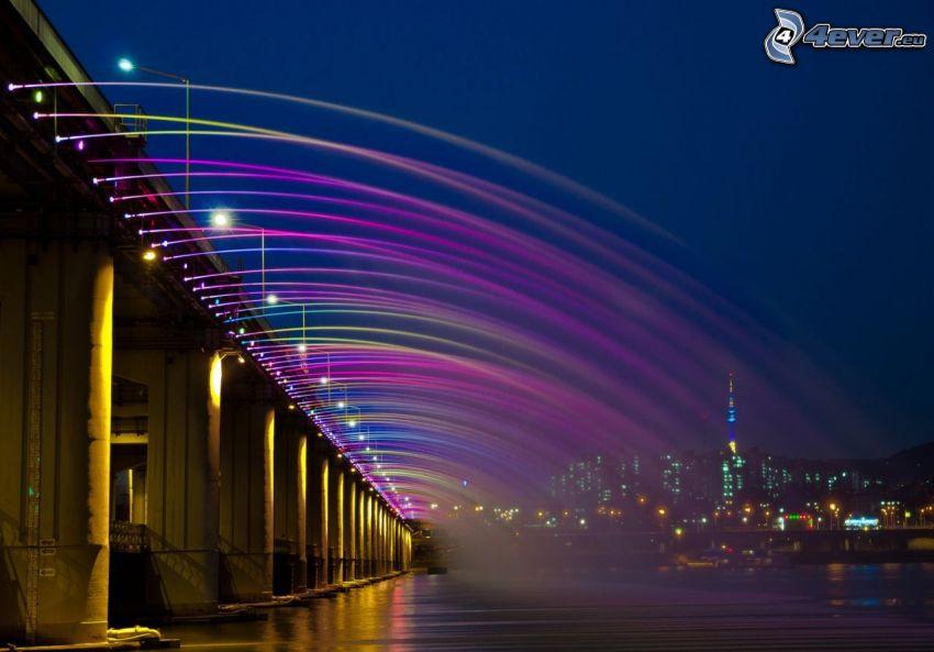 Banpo Bridge, oświetlony most, miasto nocą, kolory