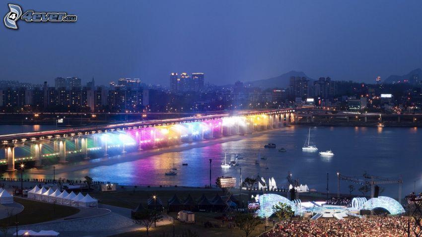Banpo Bridge, Seul, miasto nocą