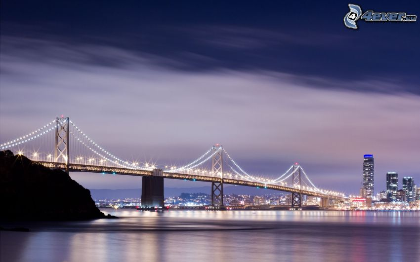 Bay Bridge, oświetlony most, San Francisco