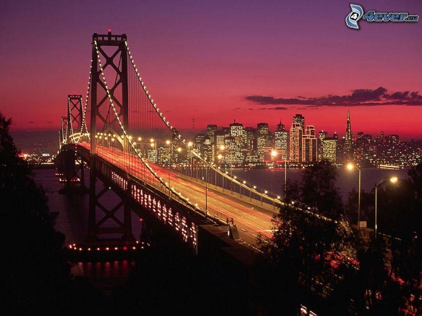 Bay Bridge, San Francisco, oświetlony most, miasto nocą