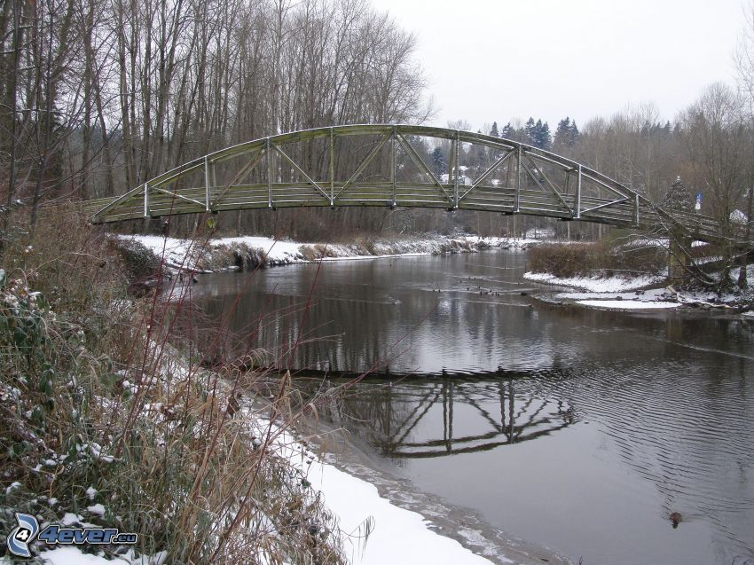 Bothell Bridge, drewniany most, zaśnieżony park, rzeka