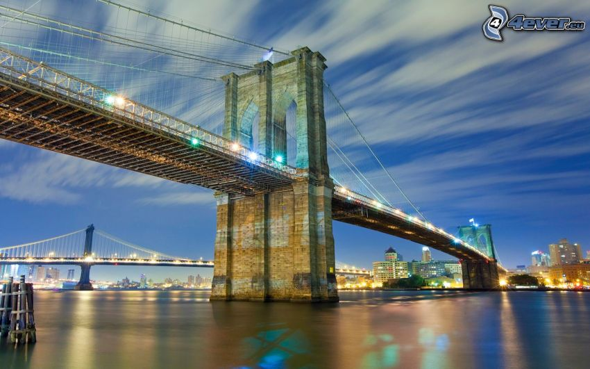 Brooklyn Bridge, most, wieczór, HDR
