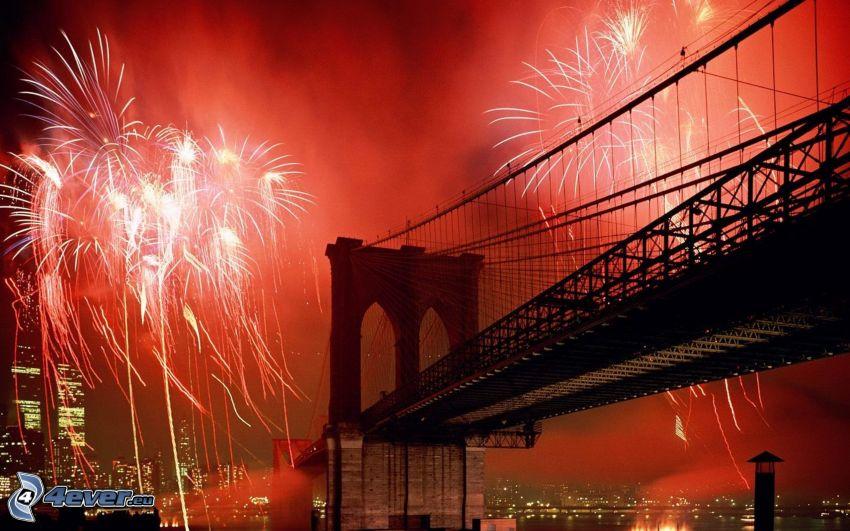 Brooklyn Bridge, New York, sztuczne ognie, Nowy Rok