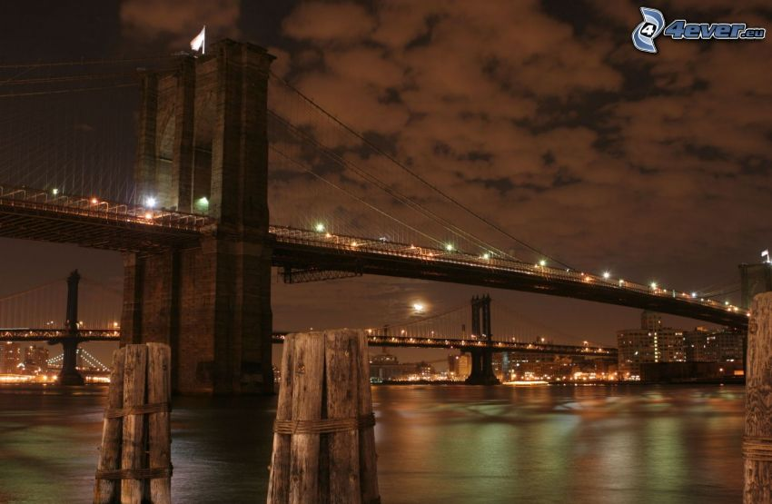 Brooklyn Bridge, oświetlony most, New York