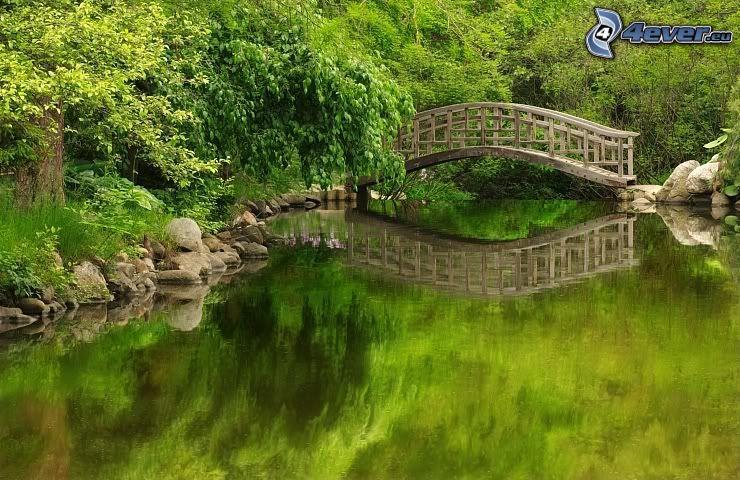 drewniany most, rzeka