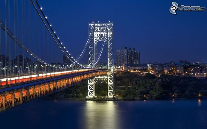 George Washington Bridge, oświetlony most, miasto nocą