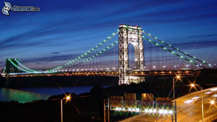 George Washington Bridge, oświetlony most, noc