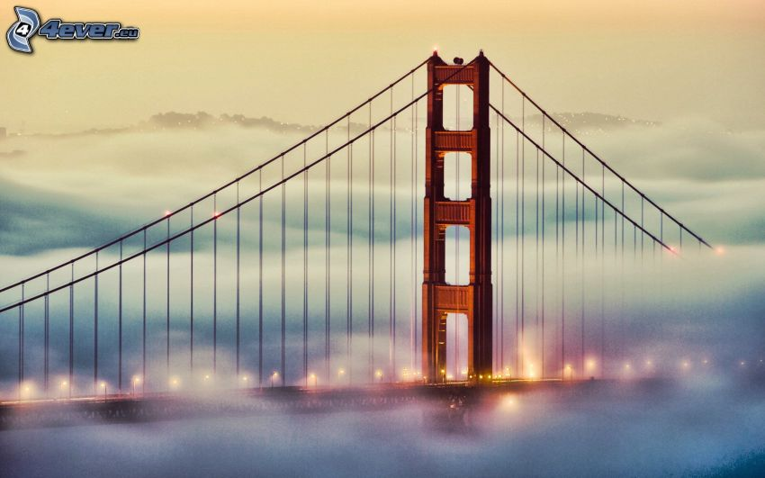 Golden Gate, San Francisco, oświetlony most, mgła