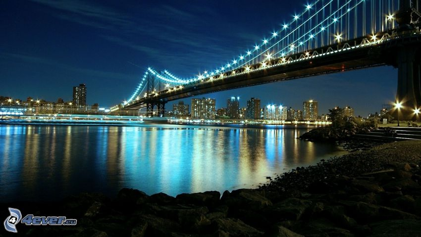 Manhattan Bridge, Manhattan, miasto nocą, oświetlony most