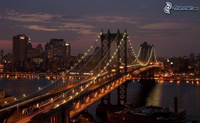 Manhattan Bridge, oświetlony most, miasto nocą