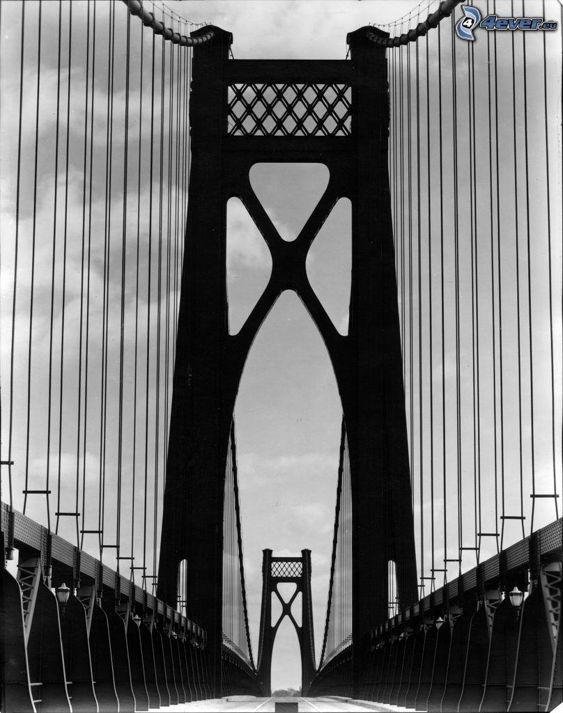 Mid-Hudson Bridge, czarno-białe zdjęcie