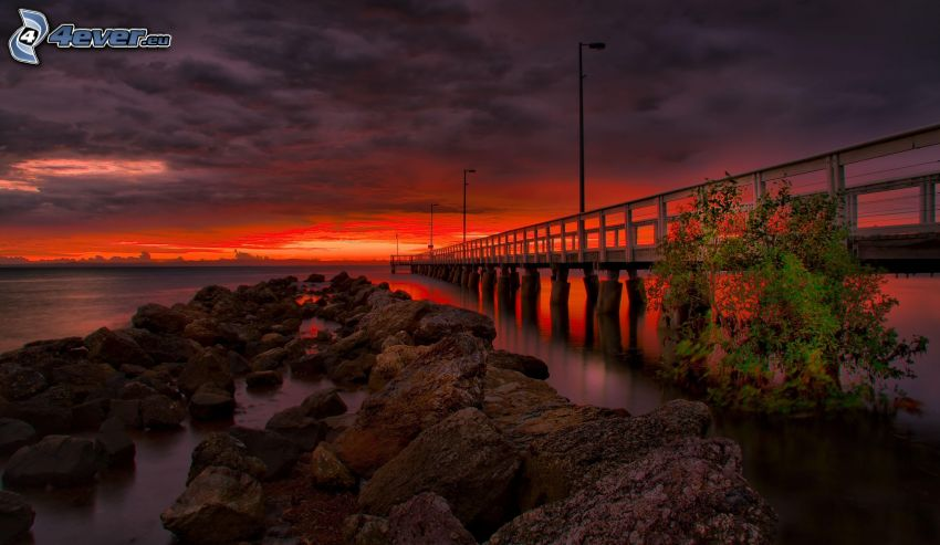 most, skały, rzeka, pomarańczowy zachód słońca