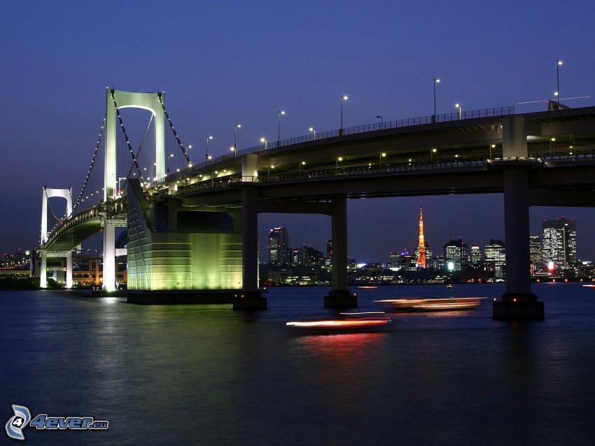 oświetlony most, miasto wieczorem