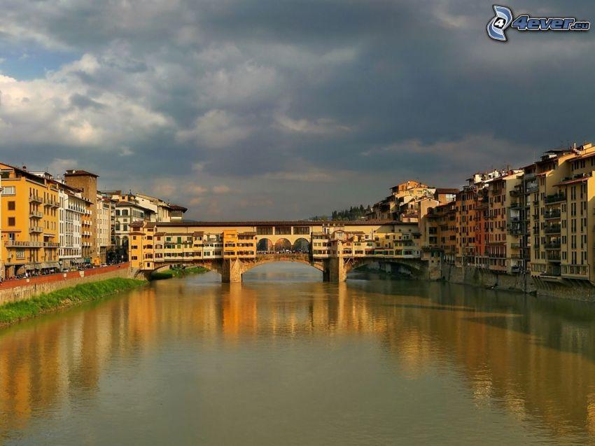 Ponte Vecchio, Florencja, Arno, chmury, rzeka, most
