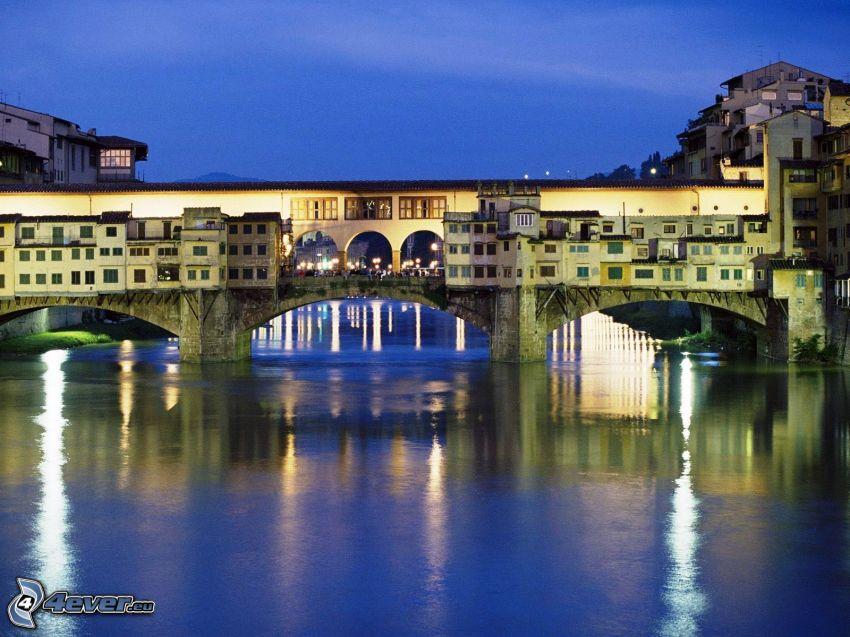 Ponte Vecchio, Florencja, Arno, miasto nocą, rzeka, most