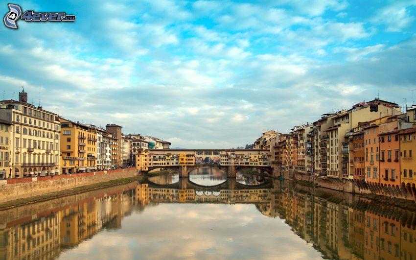 Ponte Vecchio, Florencja, Arno, odbicie, rzeka, most