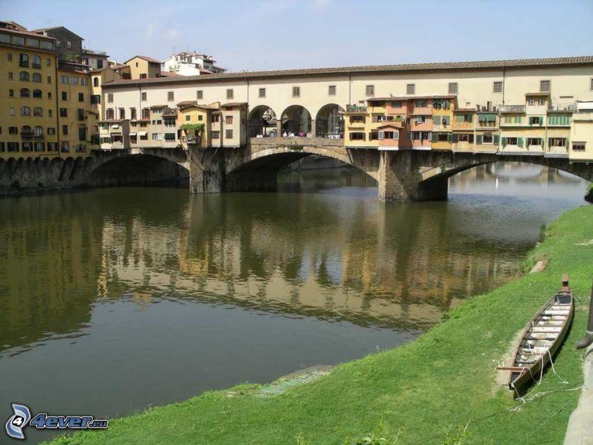 Ponte Vecchio, Florencja, Arno, rzeka, most, łódka