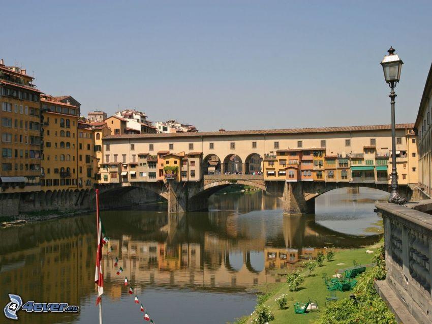 Ponte Vecchio, Florencja, Arno, rzeka, most