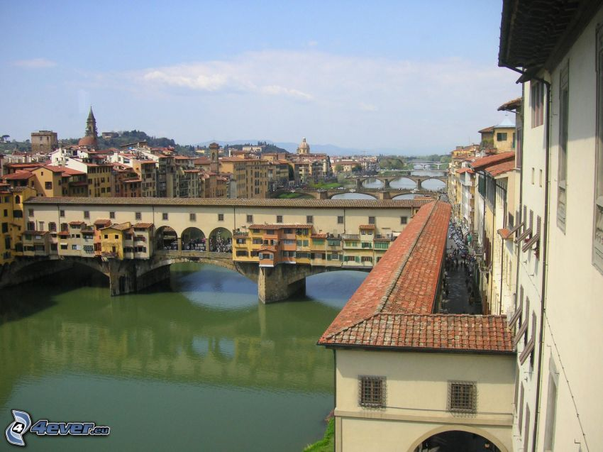 Ponte Vecchio, Florencja, Arno, rzeka, mosty