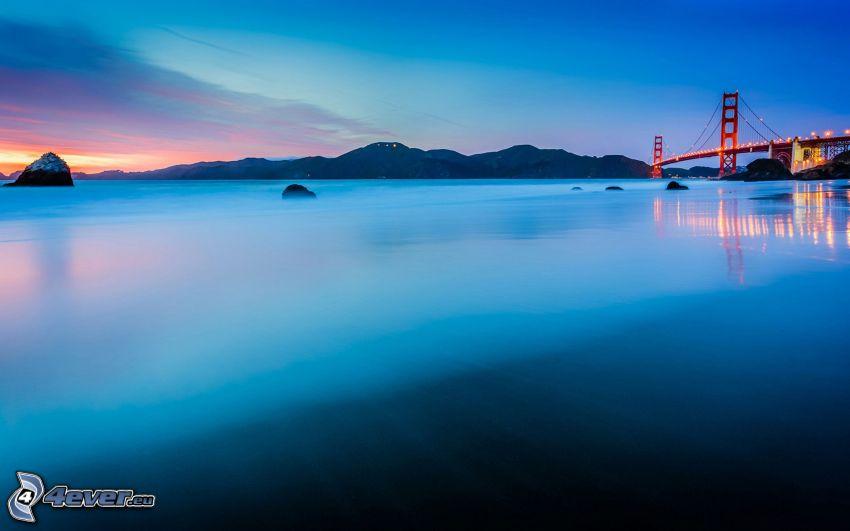 San Francisco, Golden Gate, zatoka, po zachodzie słońca