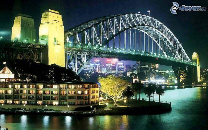Sydney Harbour Bridge, oświetlony most, miasto nocą