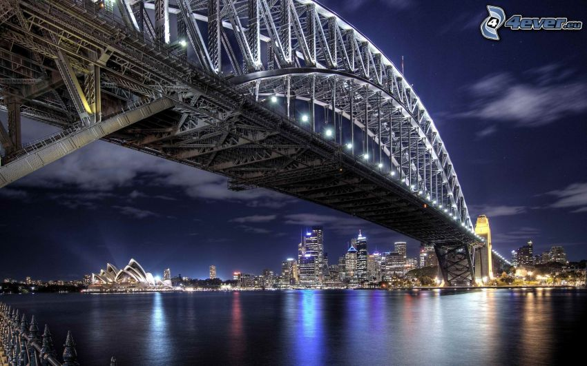 Sydney Harbour Bridge, oświetlony most, noc, Sydney Opera House, Sydney