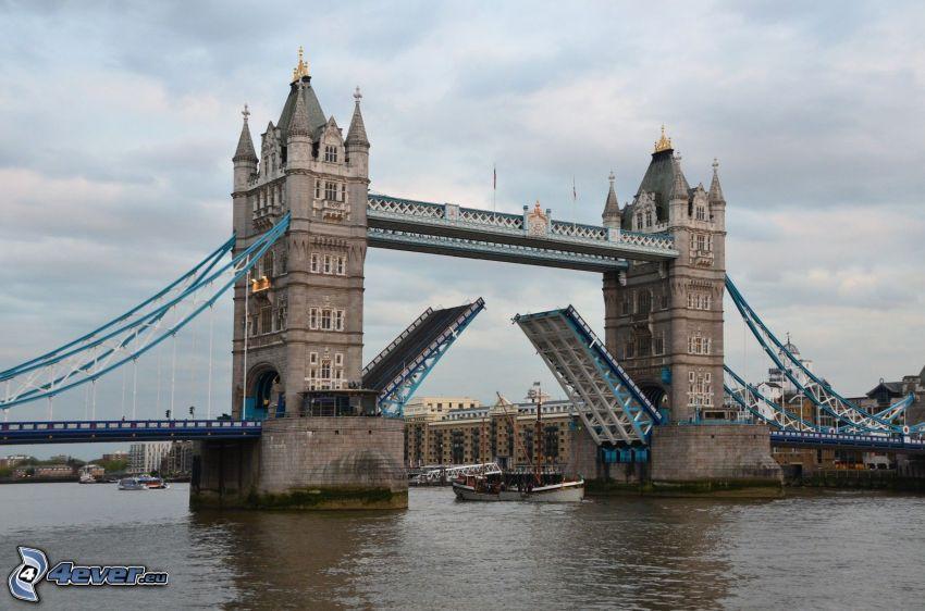 Tower Bridge, łódź, turystyczna, Tamiza
