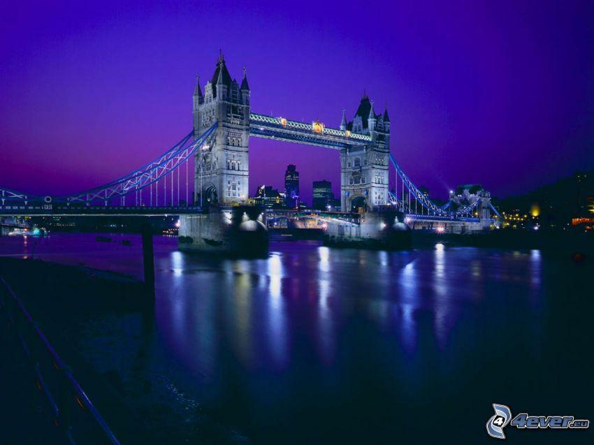 Tower Bridge, oświetlony most, noc, Tamiza, Londyn