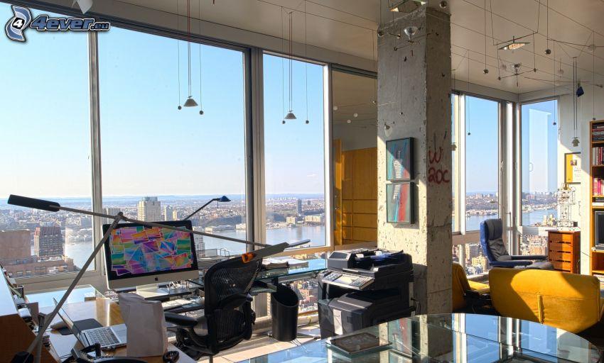 biuro, widok na miasto
