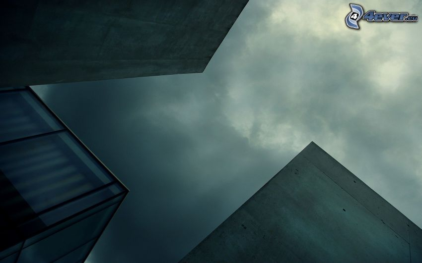 budowle, chmury