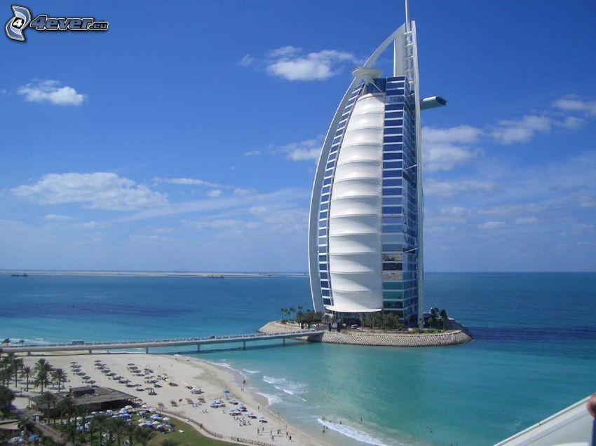 Burj Al Arab, Dubaj, morze, hotel, niebo, plaża, luksus