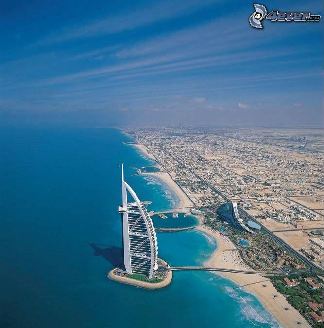 Burj Al Arab, Dubaj, plaża, miasto, morze