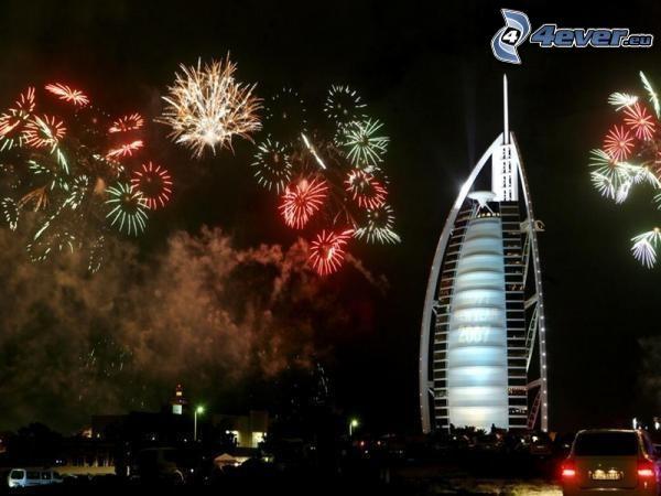 Burj Al Arab, Dubaj, sztuczne ognie, hotel, Nowy Rok