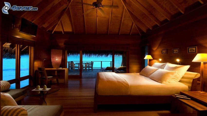 domek, sypialnia, luksus