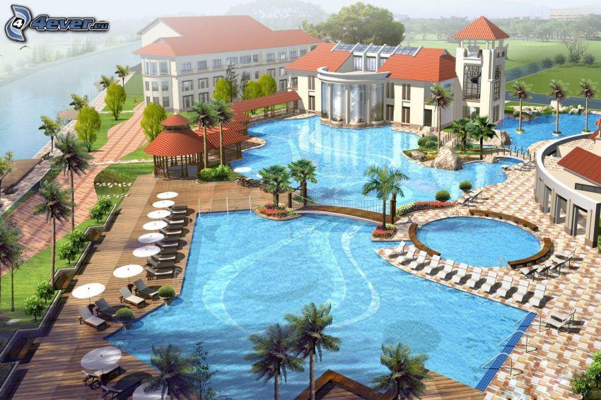 hotel, basen, luksus