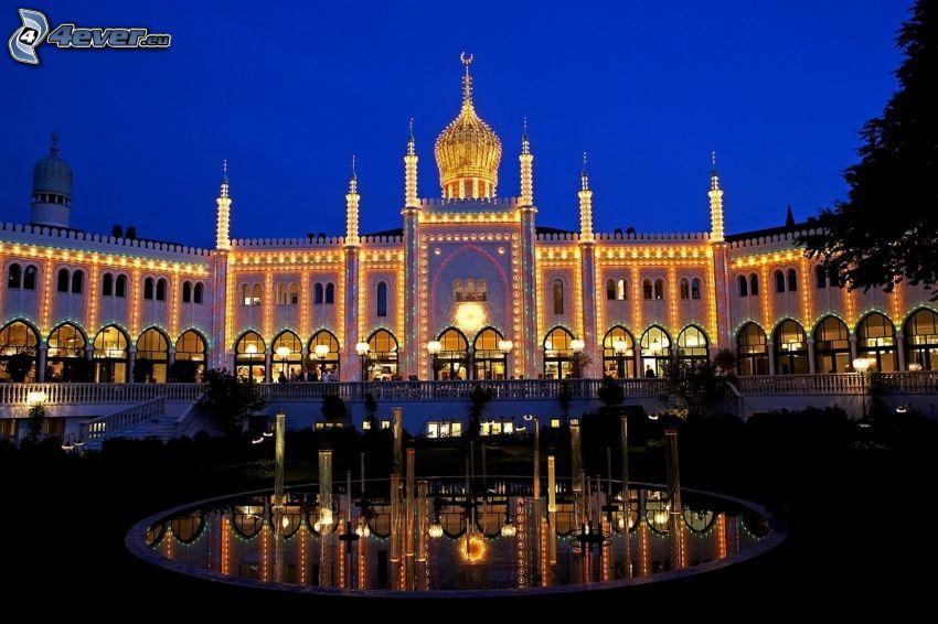 hotel, Dania, fontanna, wieczór, oświetlenie