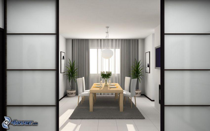 jadalnia, stół, okno