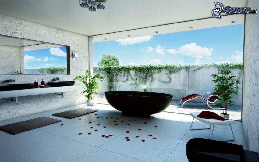 łazienka, luksus, okno, płatki róż
