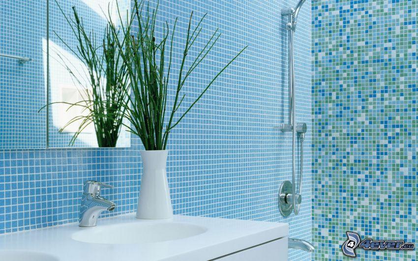 łazienka, umywalka, prysznic, kwiaty w wazonie