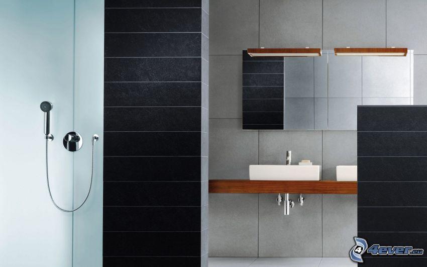 łazienka, umywalki, prysznic, lustro