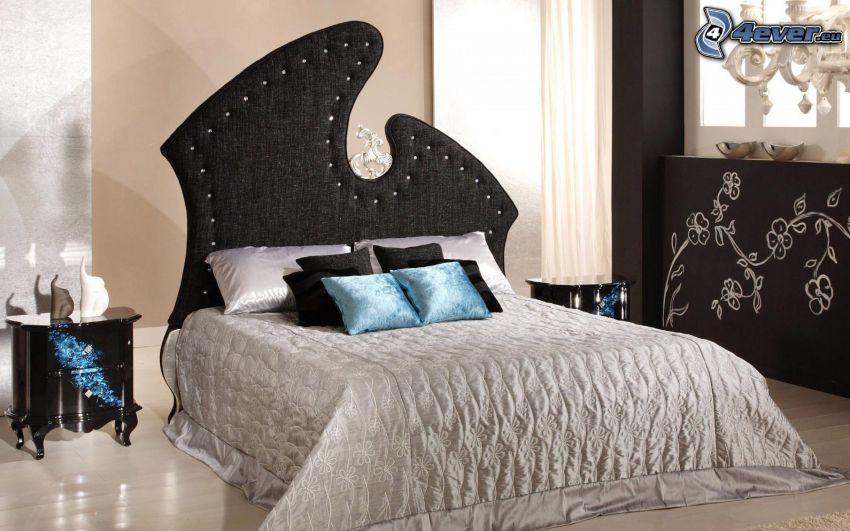 łóżko małżeńskie, sypialnia, nocna szafka