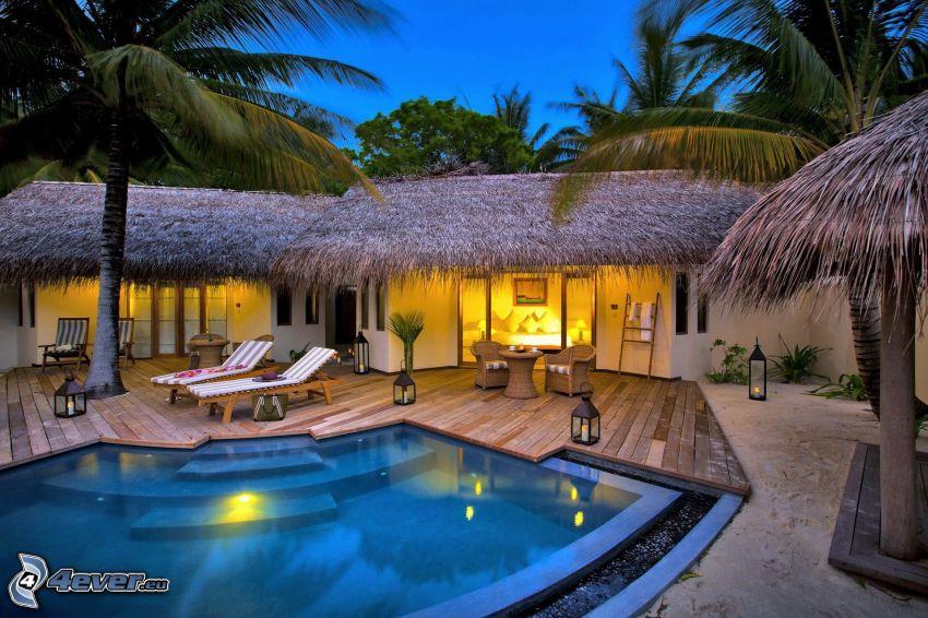 luksusowy dom, basen