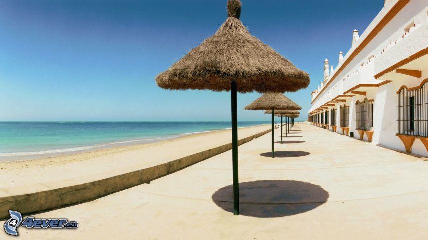 parasole przeciwsłoneczne, morze, taras
